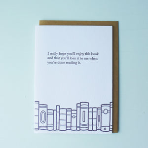 Loan This Book Bookish Letterpress Card