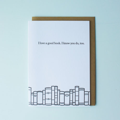 Love a Good Book Bookish Letterpress Card