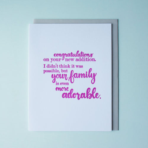 Adorable Family Letterpress Baby Card