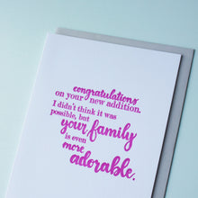 Load image into Gallery viewer, Adorable Family Letterpress Baby Card