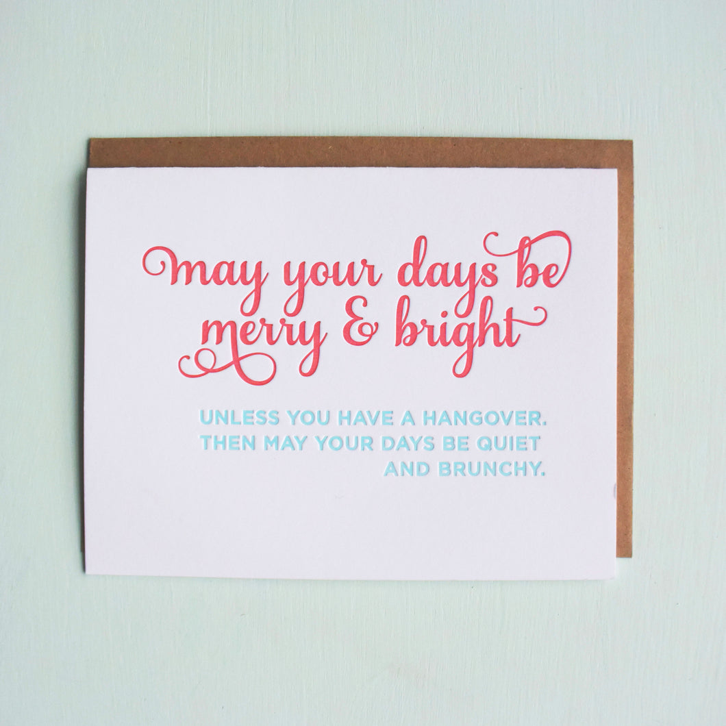 Brunchy Hangover Letterpress Holiday Card