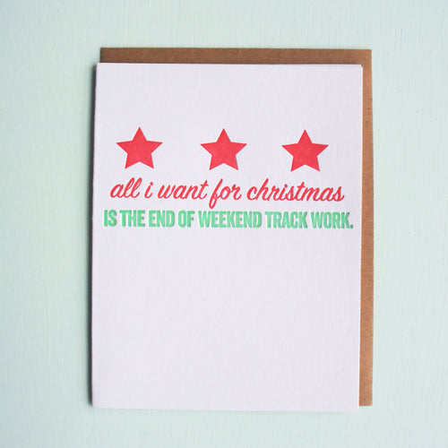 Weekend Track Work Letterpress Holiday Card