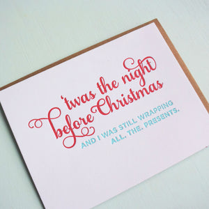 Up All Night Letterpress Holiday Card