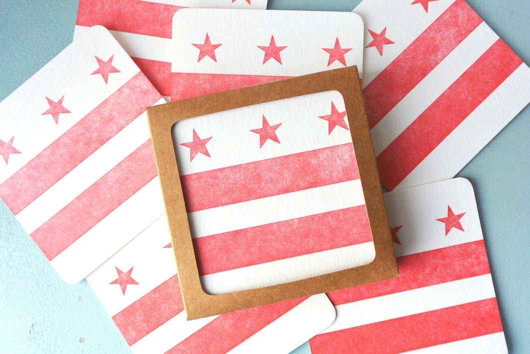 DC Flag Letterpress Coasters