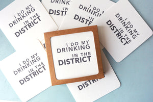 Drinking in the District Letterpress Coasters