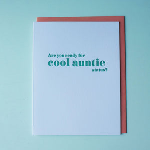 Cool Auntie Letterpress Baby Card