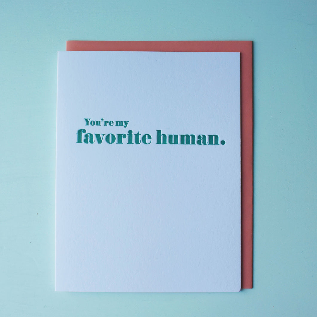 Favorite Human Letterpress Love Card