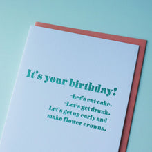 Load image into Gallery viewer, Flower Crown Letterpress Birthday Card