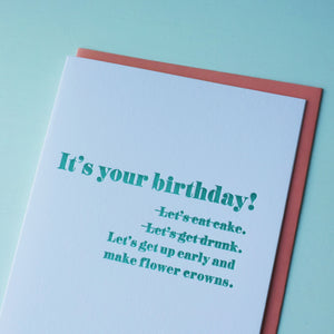 Flower Crown Letterpress Birthday Card