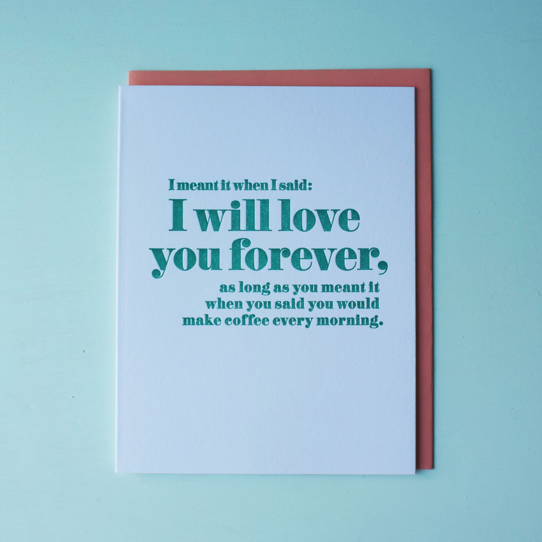 Morning Coffee Letterpress Love Card