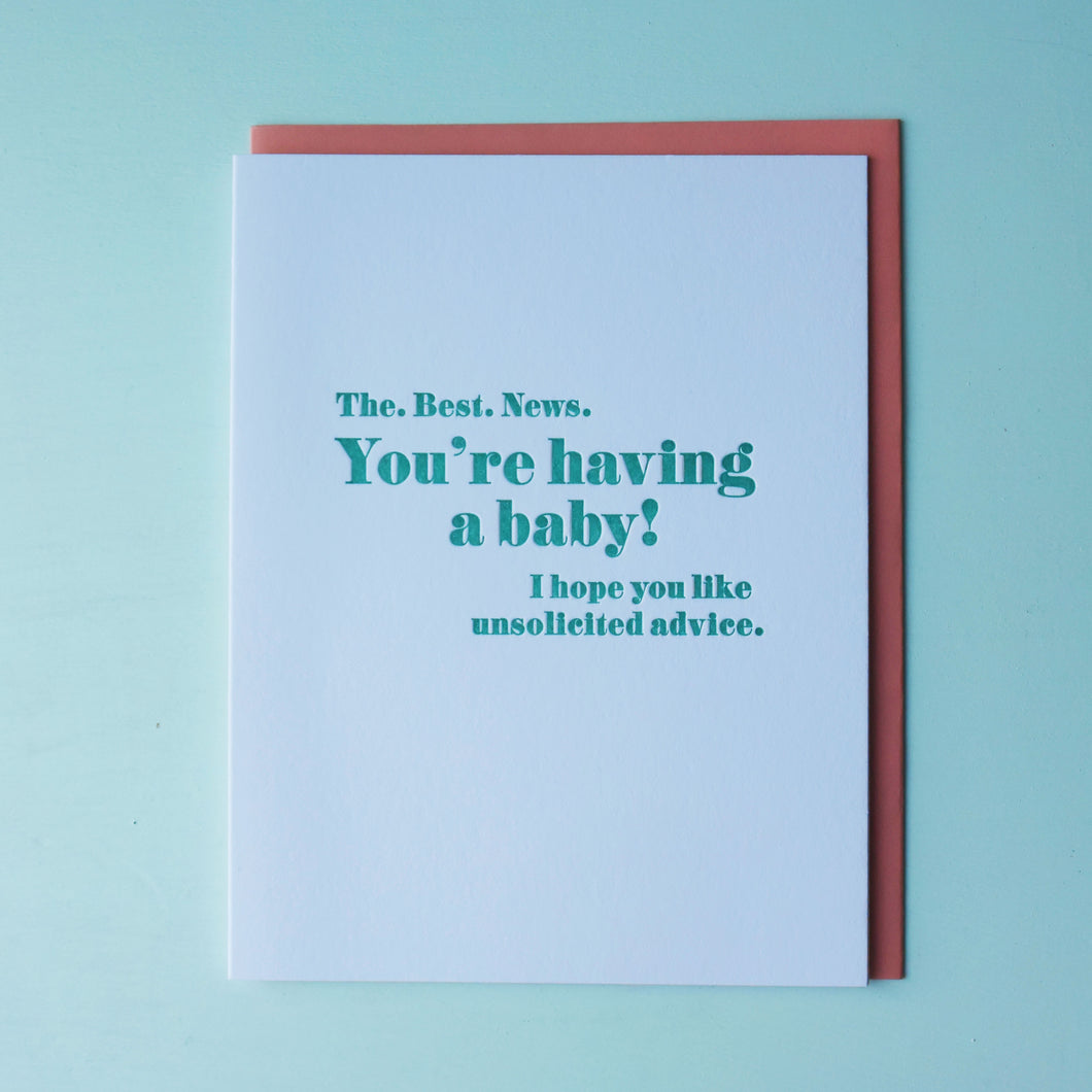 Unsolicited Advice Letterpress Baby Card