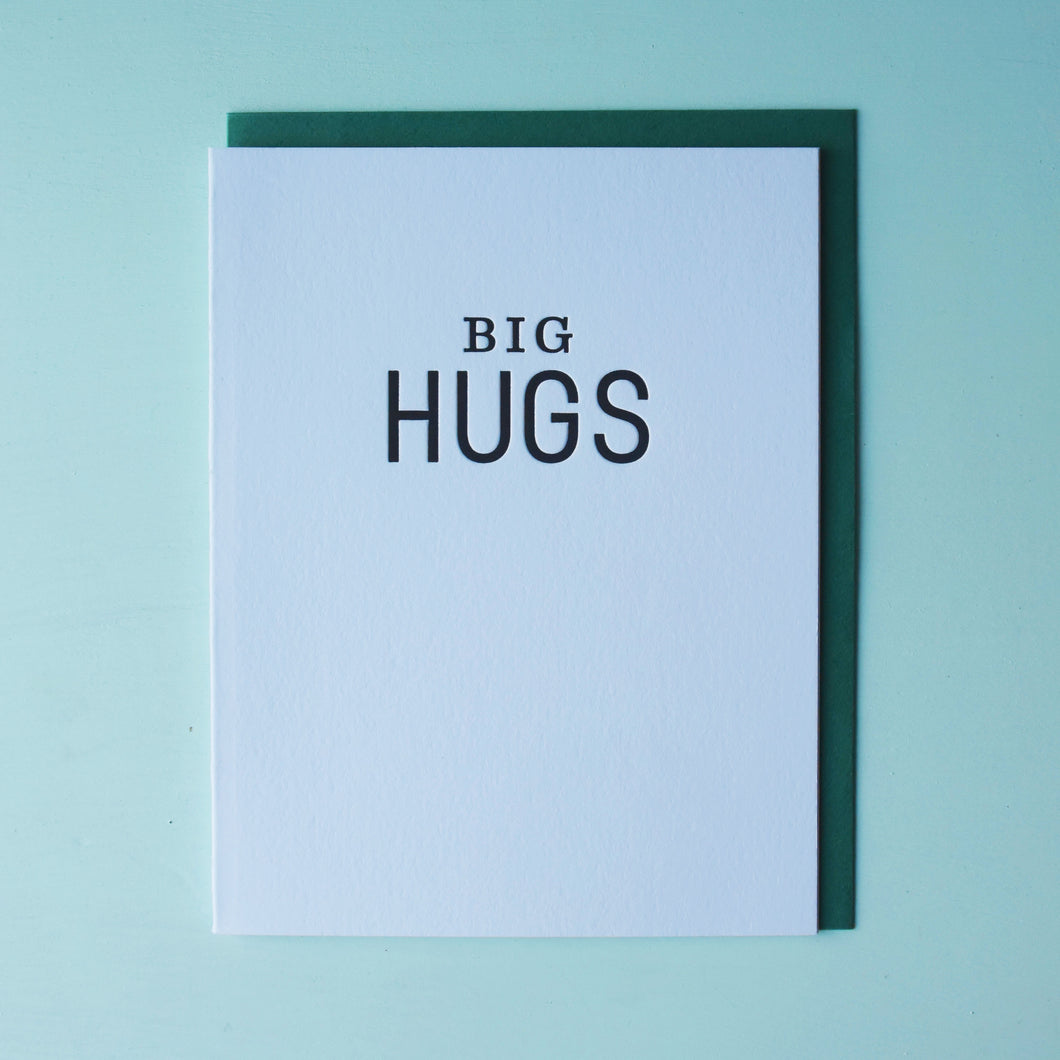 Big Hugs Letterpress Friendship Card