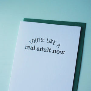 Real Adult Letterpress Congratulations Card