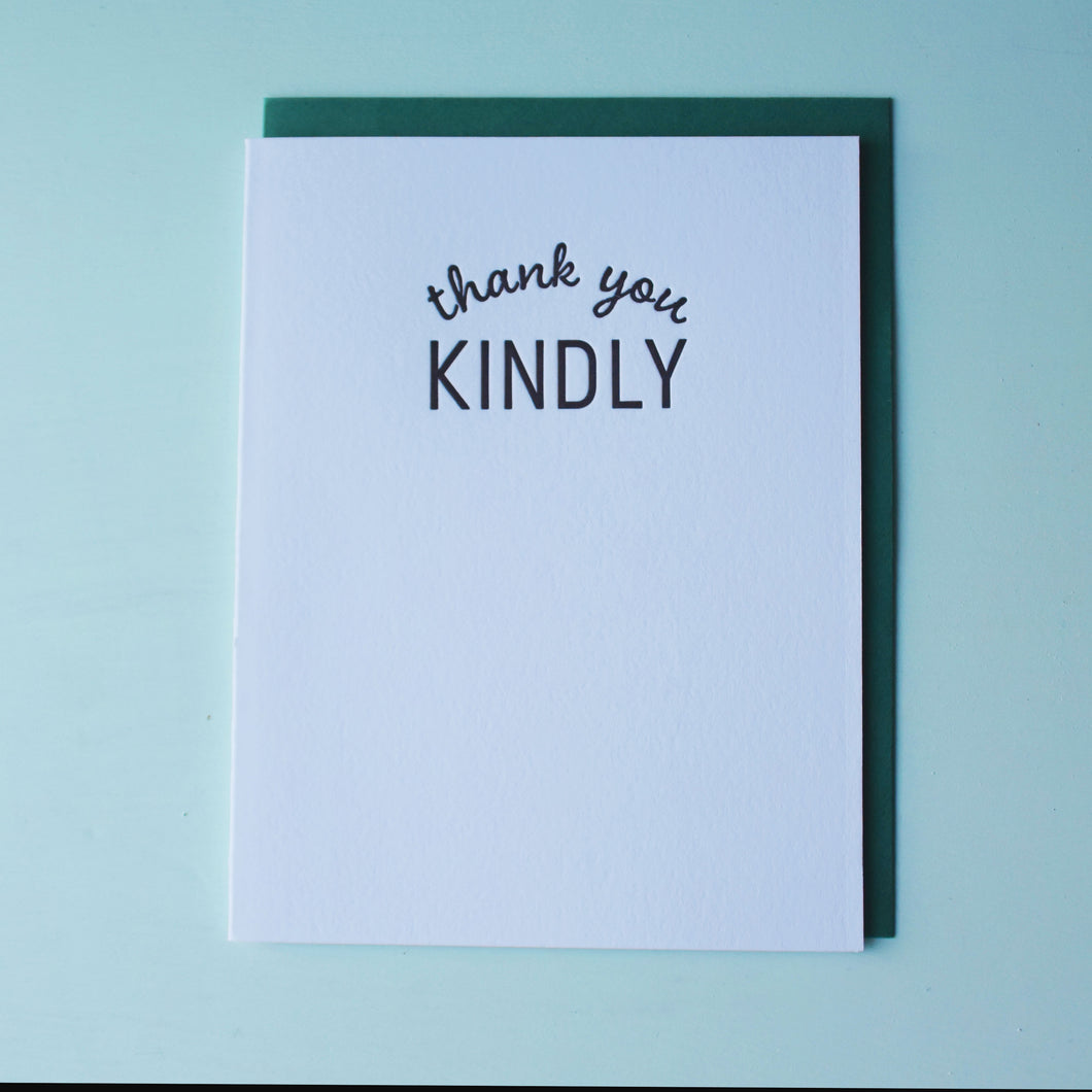 Thank You Kindly Letterpress Thank You Card