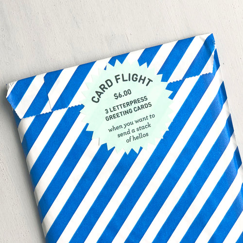 Card Flight - Stack of Hellos - Three Letterpress Greeting Cards