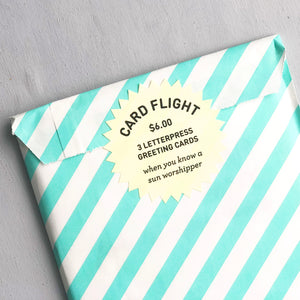 Card Flight - Sun Worshipper - Three Letterpress Greeting Cards