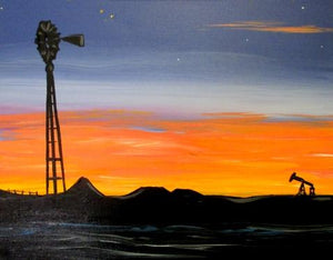 "Sat, August 11th, 2018, 6-8pm ""BIG SPRING SUNSET"" Public Wine & Painting Class Big Spring, TX Big Spring Sunset, & Canvas Class"