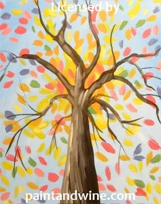 "Tuesday, August 20th , 2019, 6-8pm ""Colorful Tree"" Public Big Spring, TX Wine, & Canvas Class"