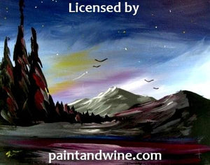 "Saturday May 25th, 2019, 6pm-8pm ""Northern lights "" Public Paint & Wine Class Big Spring, TX Big Spring Sunset, & Canvas Class"