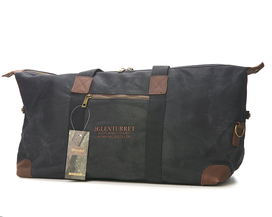 The Glenturret Black Waxed Canvas Weekend Holdall