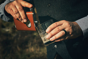 The Glenturret Tan Leather Hip Flask