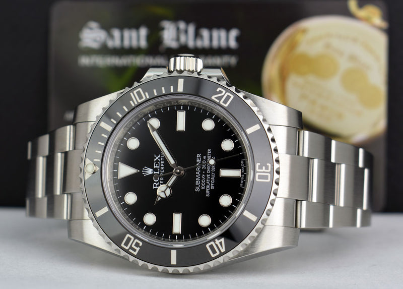 ROLEX 40mm Stainless No-Date SUBMARINER Black CERAMIC 114060