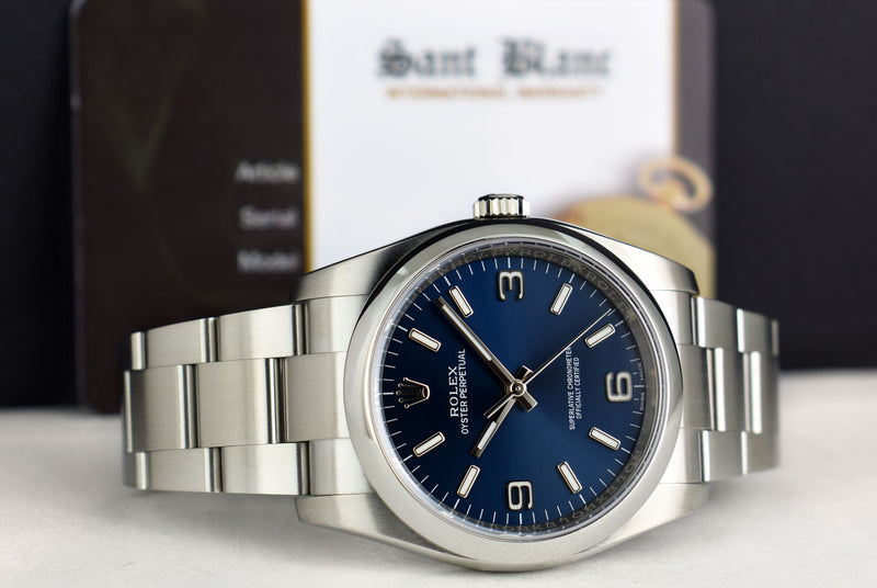 ROLEX 36mm Stainless Steel Oyster Perpetual Blue Arabic Model 116000