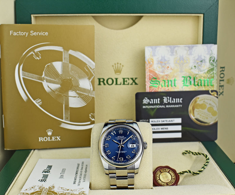 ROLEX Mens Stainless DateJust Blue Concentric Dial Oyster Band Model 116200