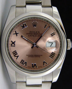 ROLEX Men's 36mm Stainless Steel Datejust Rose Roman Dial Model 116200