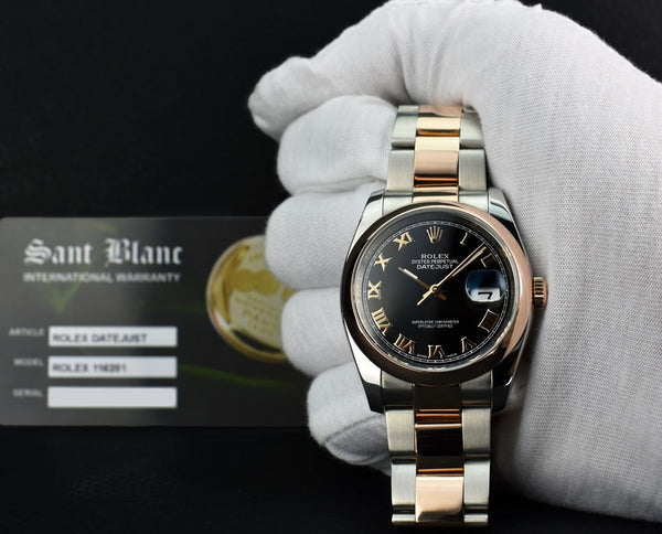ROLEX - 18kt Rose Gold & Stainless DateJust Black Roman Dial 116201