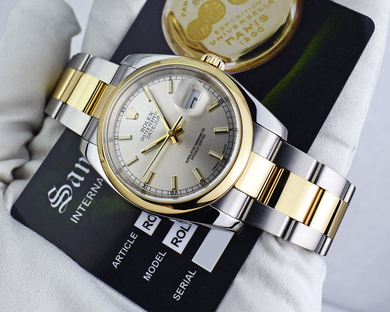 ROLEX - 18kt Gold & Stainless Steel DateJust Silver Index Dial 116203