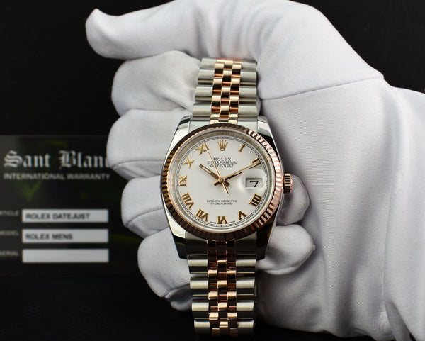 ROLEX - 18kt Rose Gold & Stainless DateJust White Roman Dial 116231