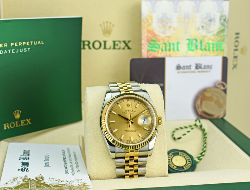 ROLEX 18kt Gold & Stainless Steel DateJust Champagne Index Dial Model 116233