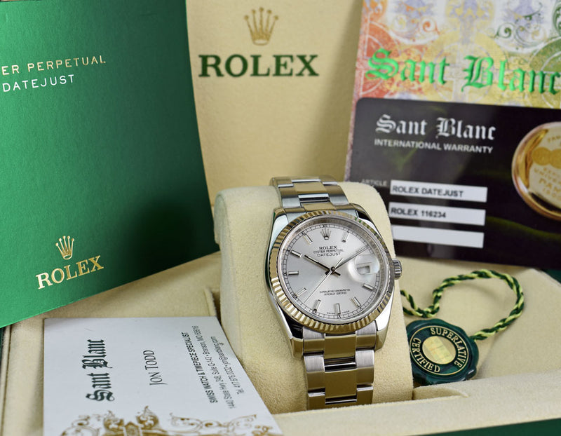 ROLEX 18kt White Gold & Stainless DateJust Silver Index Dial Model 116234