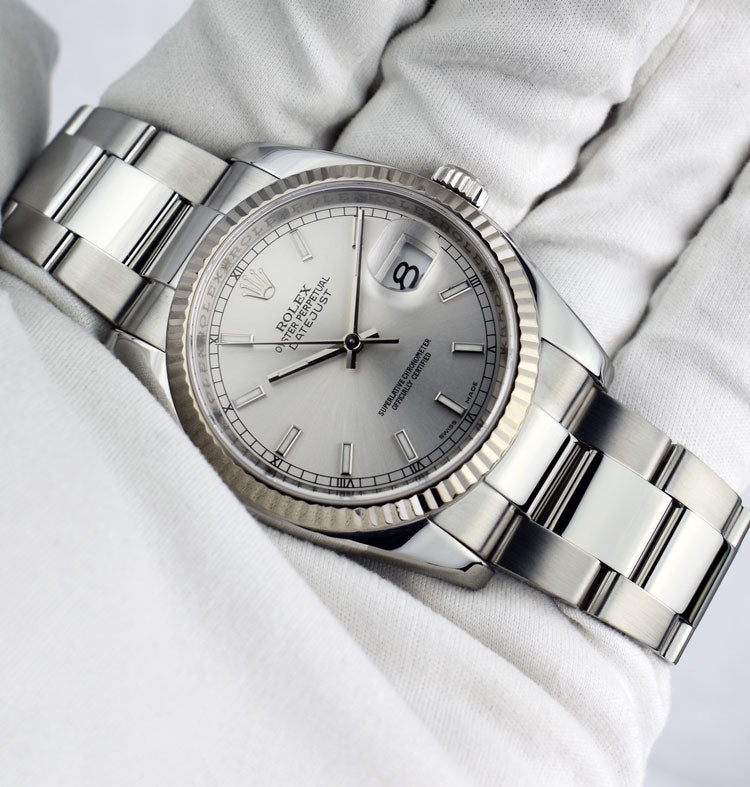 ROLEX - 18kt White Gold & Stainless DateJust Silver Index Dial - 116234