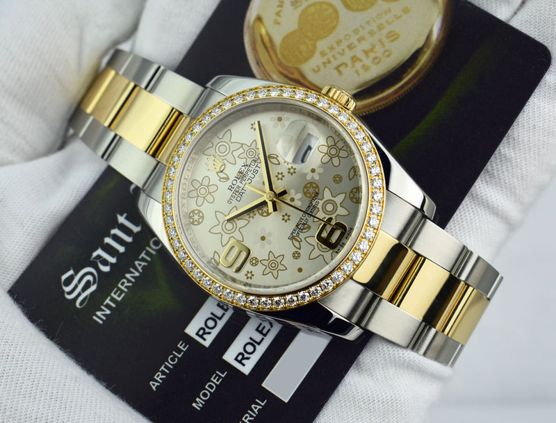ROLEX 18kt Gold & Stainless Datejust Silver Floral Diamond 116243