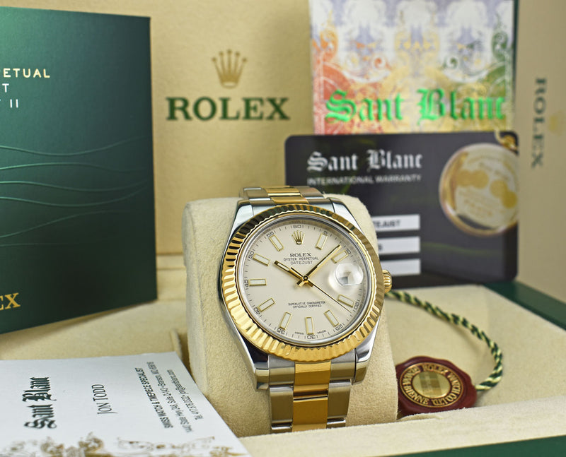 ROLEX Mens 18kt Gold & Stainless Steel DateJust II Ivory Index Model 116333