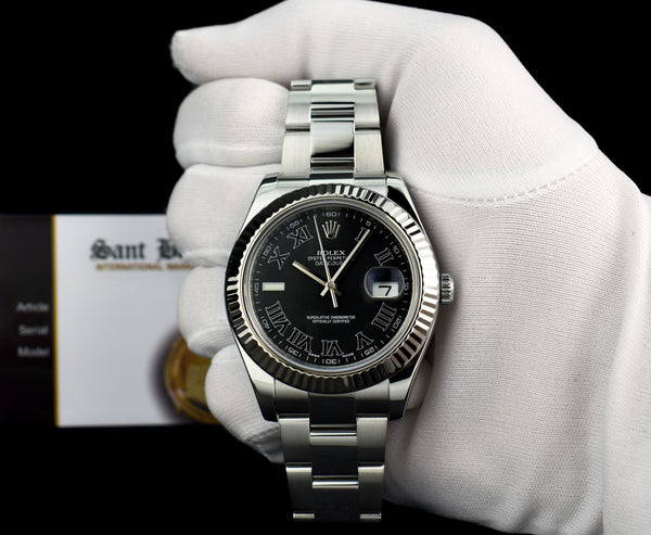 ROLEX 41mm 18kt White Gold & Stainless Steel DateJust II Black Roman Dial Model 116334