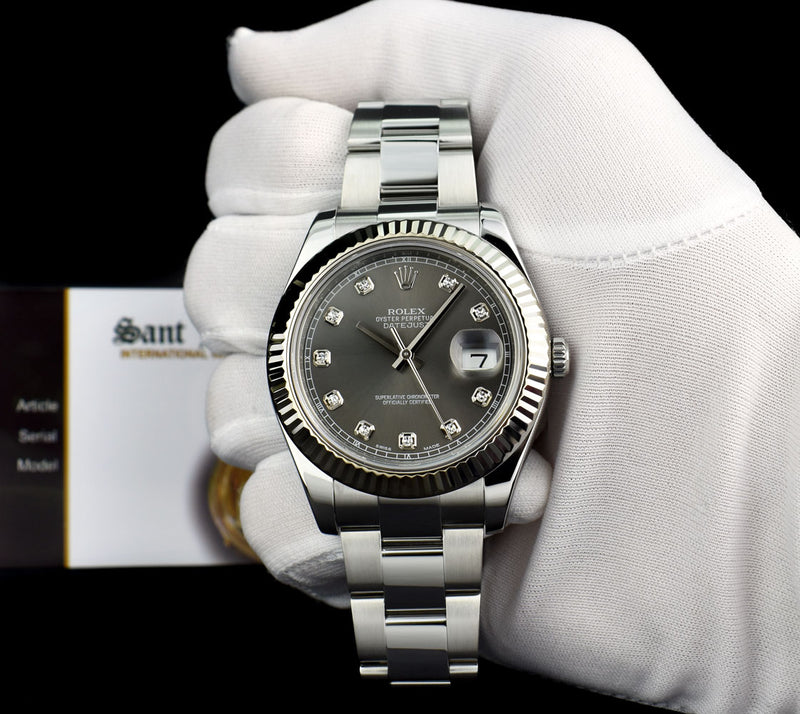 ROLEX 18kt White Gold & Stainless DateJust II Rhodium Gray Diamond Dial Model 116334