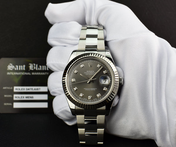 ROLEX - Mens 41mm White Gold & Stainless  DateJust II - Rhodium Diamond - 116334