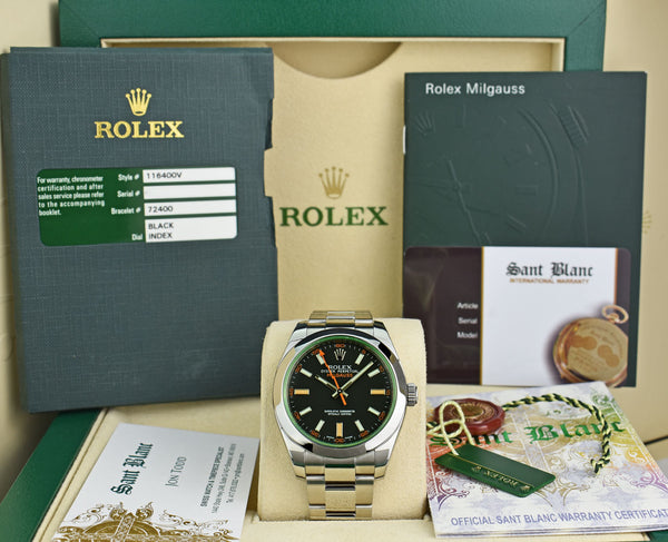 ROLEX 40mm Stainless Steel Milgauss Green Crystal Black Index Dial Model 116400V