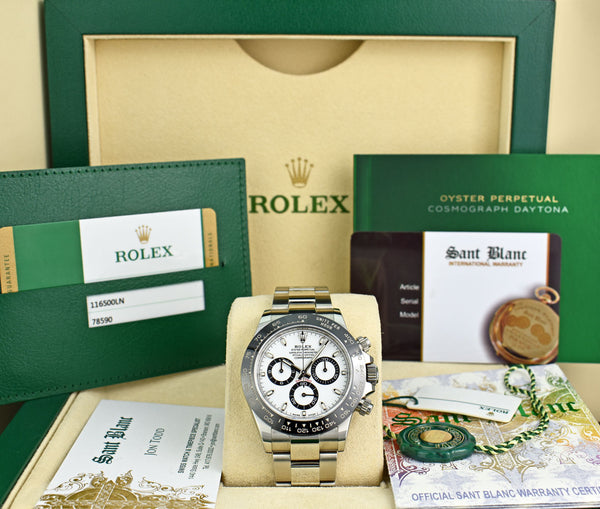 ROLEX 40mm Stainless Steel Daytona White Dial Ceramic Bezel Model 116500LN