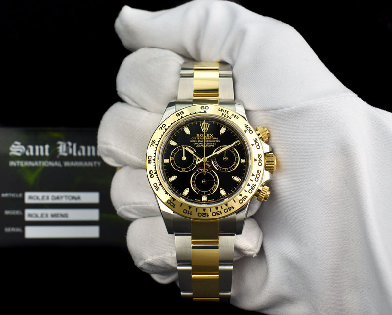 ROLEX 18kt Gold & Stainless Steel DAYTONA Black Index Dial Model 116503