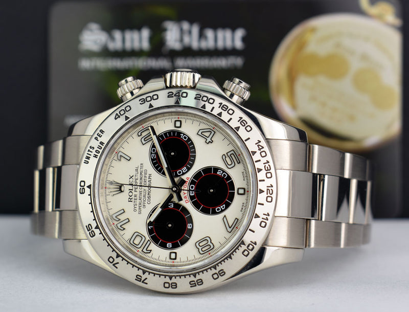 ROLEX 18kt White Gold Daytona White & Black Panda Dial Fat Buckle 116509