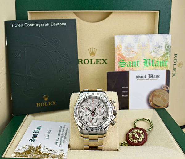 ROLEX 18kt White Gold Daytona on Bracelet Meteorite Roman Dial Model 116509