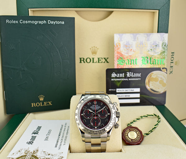 ROLEX Mens 18kt White Gold DAYTONA Black Arabic Race Dial 116509