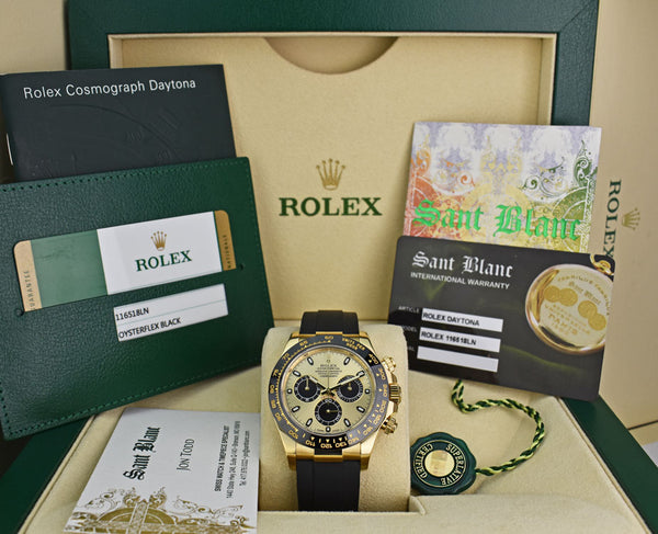 ROLEX 40mm 18kt Gold Daytona on Rubber Strap Champagne Paul Newman Model 116518LN