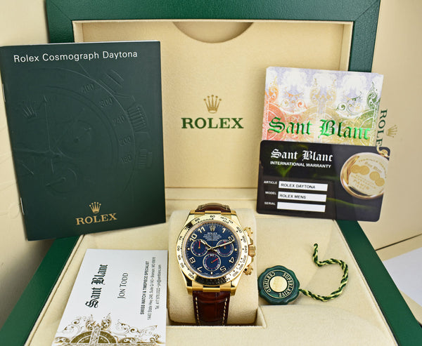 ROLEX - Mens 40mm 18kt Gold Daytona Blue Arabic Dial - Brown Strap - 116518