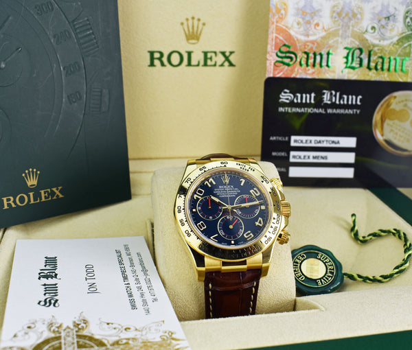 ROLEX Mens 40mm 18kt Gold Daytona Blue Arabic Dial Brown Strap Model 116518