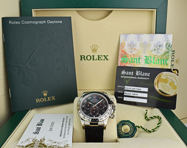 ROLEX Rehaut 18kt White Gold Daytona Black Red Arabic Dial Model 116519